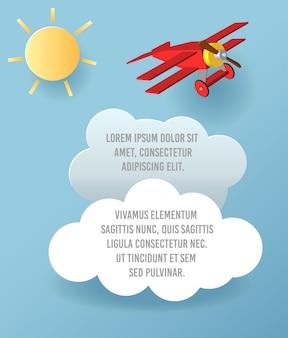 Vector el arte de papel de la nube y del avión que vuelan en el cielo. plantilla de publicidad