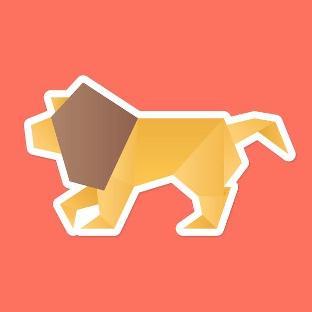 Vector de arte de papel de origami de león colorido
