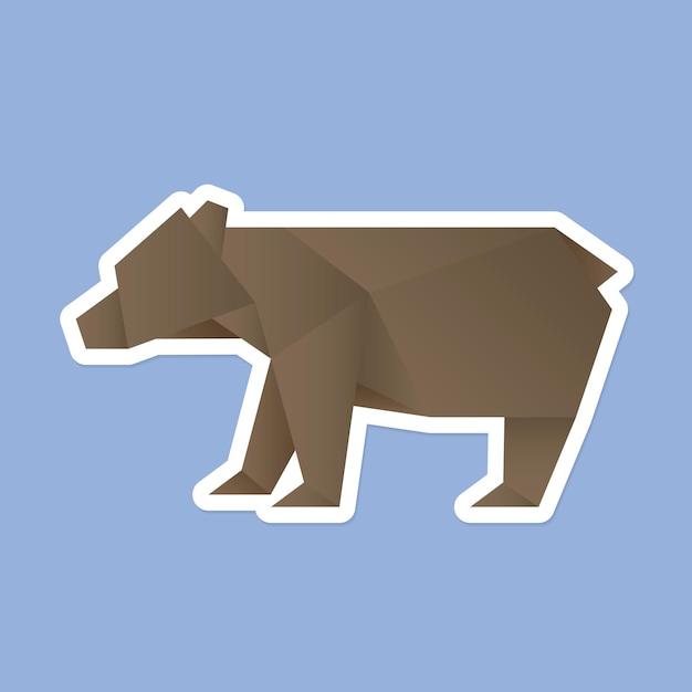 Vector de arte de papel de origami de oso colorido