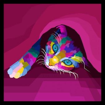 Vector de arte pop colorido gato decorativo