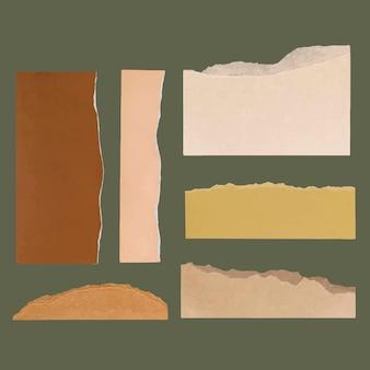 Vector de artesanía de papel rasgado de bricolaje en la colección de tonos tierra