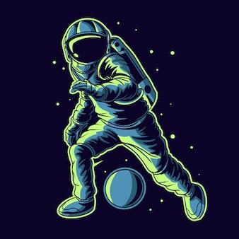 Vector de astronauta goteando pelota en el espacio