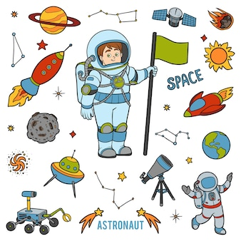 Vector con astronauta y objetos espaciales. artículos coloridos de dibujos animados