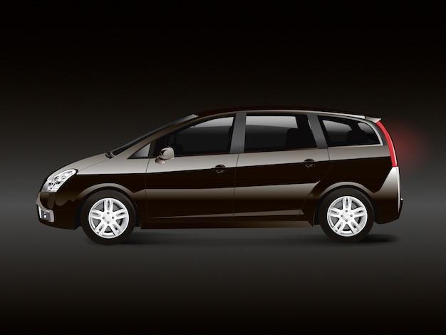 Vector de automóvil monovolumen mpv marrón