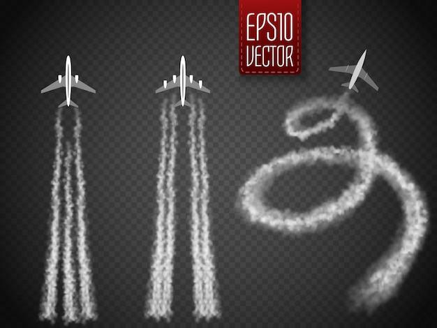 Vector avión rastro de condensación.