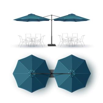 Vector azul patio blanco con doble playa aire libre café bar pub