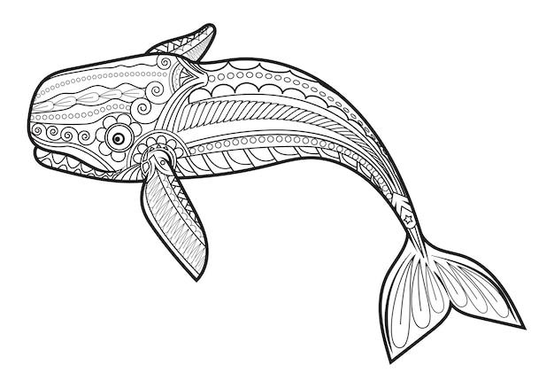 Vector ballena para adultos anti estrés para colorear
