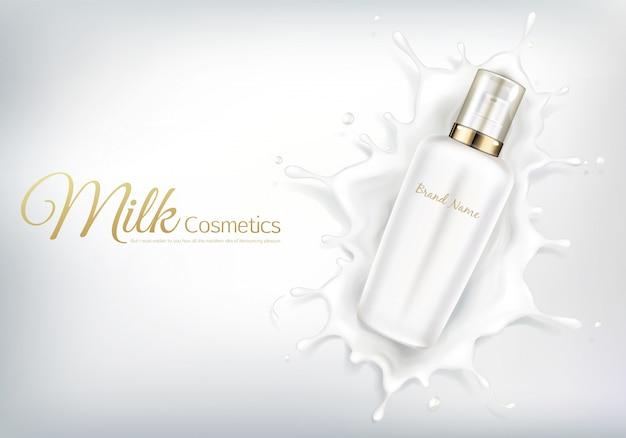 Vector la bandera cosmética con la botella realista para la crema del cuidado de piel o la loción del cuerpo.