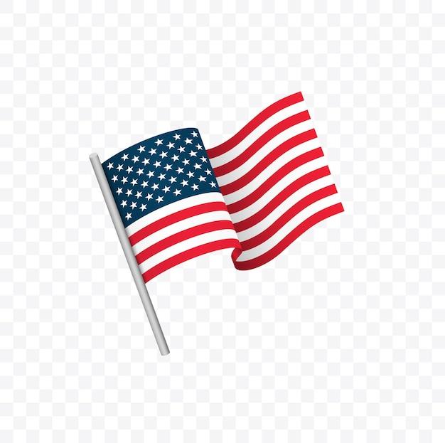 Vector de bandera estadounidense aislado en la ilustración de vector de fondo blanco
