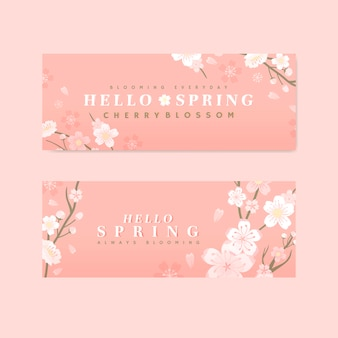Vector de bandera de flor de cerezo rosa