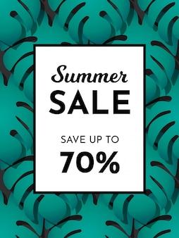 Vector de la bandera de moda de venta de verano. ahorra hasta un 70%. patrón de hojas de palmeras tropicales exóticas verdes