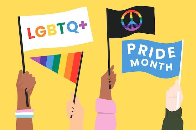Vector de banderas del mes del orgullo lgbtq