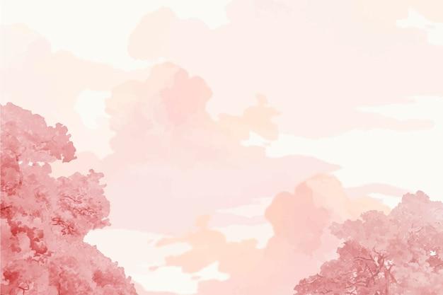 Vector de banner de árboles y cielo rosa