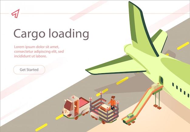 Vector banner carga carga preparación de vuelo.