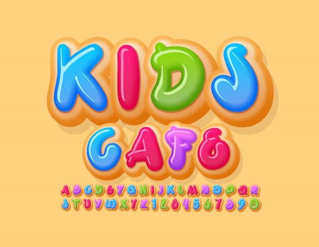 Vector banner creativo kids cafe. fuente colorida donut. números y letras del alfabeto de pastel brillante