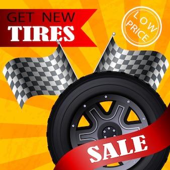 Vector de banner plano obtener nuevos neumáticos bajo precio de venta.
