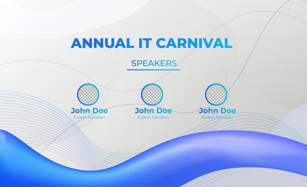 Vector de banner web de redes sociales en vivo reunión de conferencia de it azul