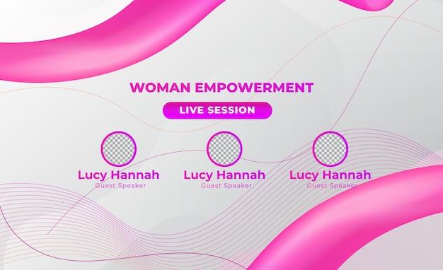 Vector de banner de web de redes sociales en vivo reunión de conferencia de mujer rosa
