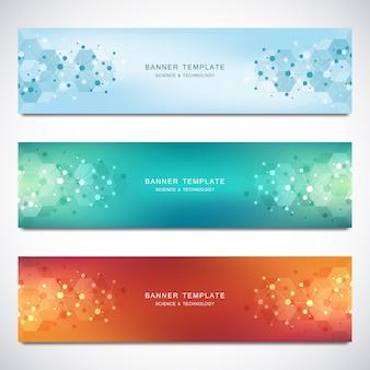 Vector banners y encabezados para sitio con fondo de moléculas y red neuronal. ingeniería genética o investigación de laboratorio.