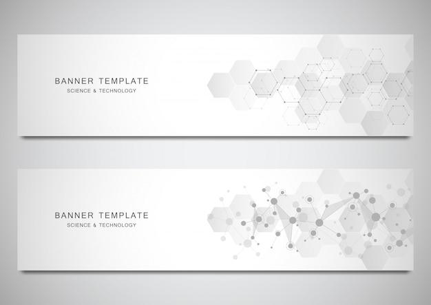 Vector banners y encabezados para sitio con fondo de moléculas y red neuronal.
