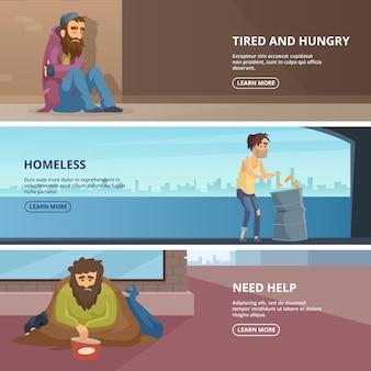 Vector banners horizontales con ilustraciones de personas pobres y sin hogar.