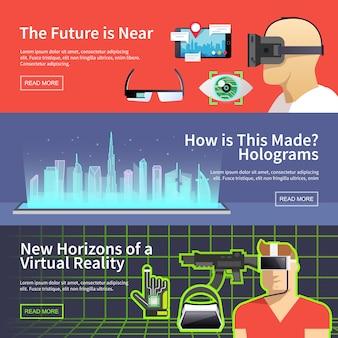 Vector banners de realidad virtual.