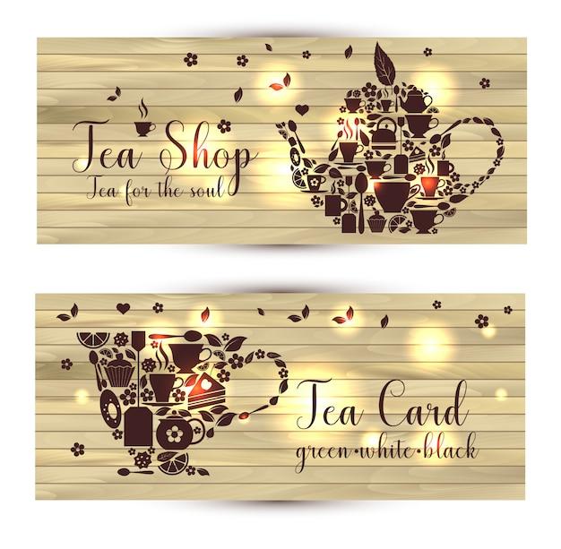 Vector banners de té sobre fondo de madera