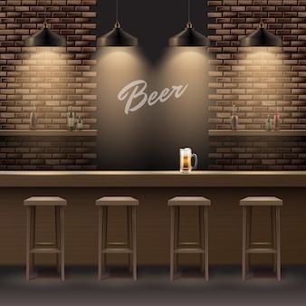 Vector bar, interior de pub con paredes de ladrillo, mostrador de madera, sillas, estantes, alcohol, jarra de cerveza y lámparas