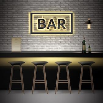 Vector bar, interior de pub con paredes de ladrillo, mostrador, sillas, botellas de alcohol, menú, letrero iluminado y lámpara