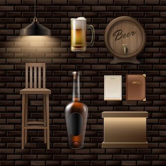 Vector bar, taburete de cosas de pub, mostrador, botella de alcohol, jarra de cerveza, menú, barril y lámpara