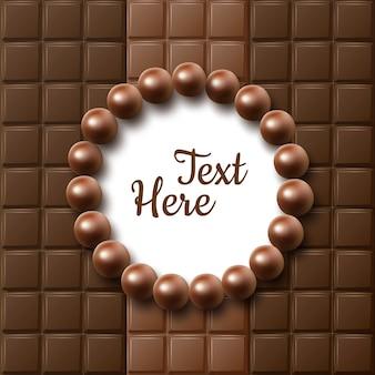 Vector de barras de chocolate marco plano laico con caramelos de bolas y lugar para texto o copyspace cerrar vista superior