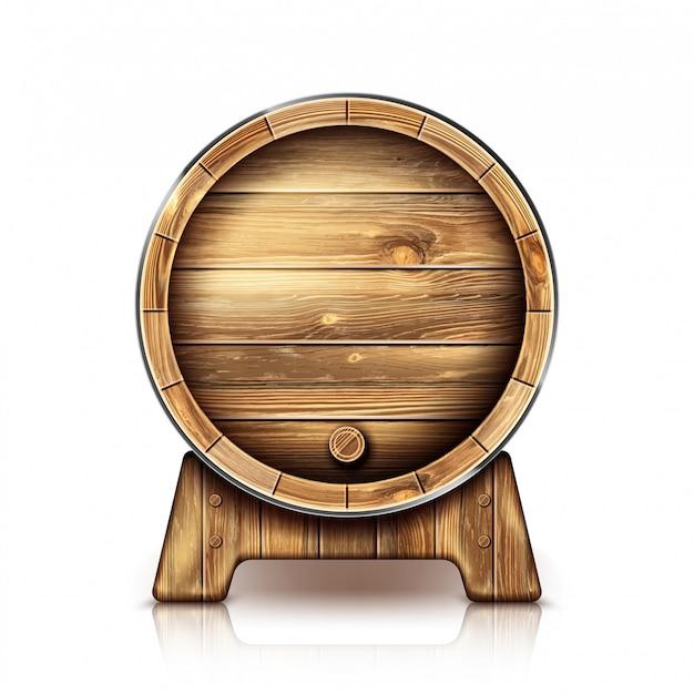Vector barril de madera para vino o cerveza en el stand