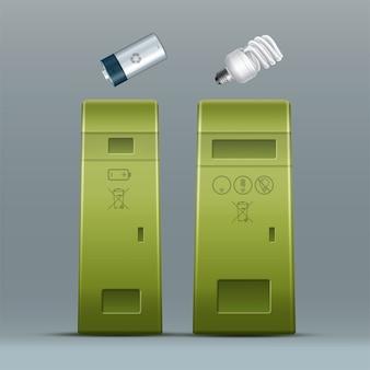 Vector batería verde, papeleras de reciclaje de lámpara de ahorro de energía para clasificación de residuos vista frontal