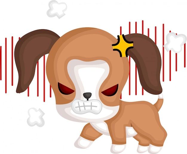 Un vector de un beagle enojado
