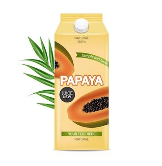 Vector de bebida de jugo de papaya paquete de colocación de producto realista jugo natural fresco