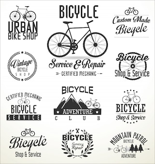 Vector bicicletas insignias y etiquetas