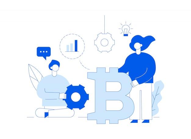 Vector bitcoin inversión moderna línea plana ilustración