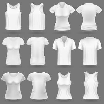 El vector blanco en blanco de la camiseta 3d para el hombre y la mujer forman diseño. camisa de mujer y ropa para la ilustración del deporte.
