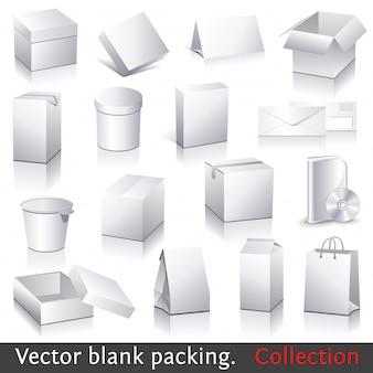 Vector en blanco embalaje colección