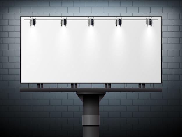 Vector en blanco grande cartelera blanca simulacro