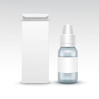 Vector en blanco medicina médica botella de spray de vidrio embalaje paquete caja