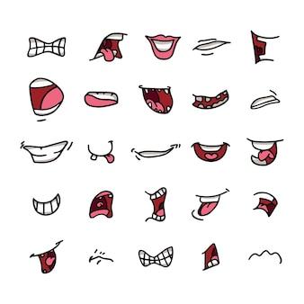 Vector de bocas en diferentes posiciones. con dientes, lengua, sonriendo, enfado, abierto, hablando, etc.
