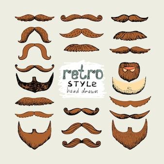 Vector boceto bigotes y barbas en estilo retro