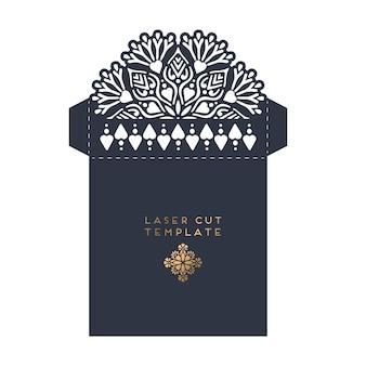 Vector boda tarjeta corte láser plantilla con mandala