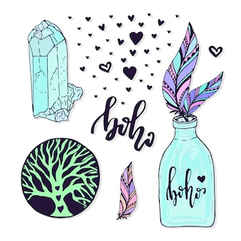 Vector boho style set. ilustración de vector con mano colección creativa dibujada con gema, pluma y jar