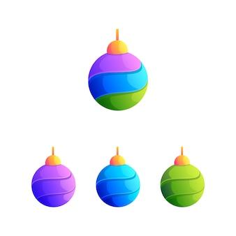 Vector de bola colorida lámpara natal