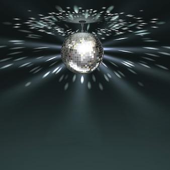 Vector bola de discoteca plateada con brillo sobre fondo oscuro