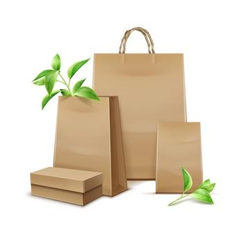 Vector de bolsas de papel kraft en blanco con hojas para la marca sobre fondo blanco.