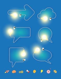Vector bombilla con diseño de burbujas de discurso