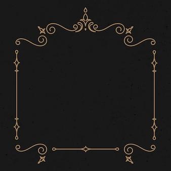 Vector de borde decorativo con adorno de oro